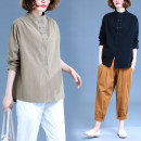 Women's large Spring 2021 shirt singleton  commute easy moderate Cardigan Long sleeves Solid color literature stand collar routine Polyester, cotton routine Button 31% (inclusive) - 50% (inclusive)