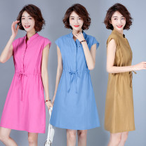 Dress Summer 2020 Khaki, sapphire, rose M [suggested 100-110 kg], l [suggested 110-120 kg], XL [suggested 120-130 kg], 2XL [suggested 130-145 kg] Mid length dress singleton  Short sleeve commute stand collar Elastic waist Solid color Socket other Type A literature S0507W polyester fiber