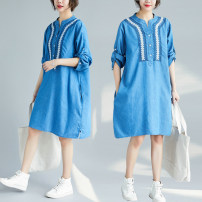 Dress Spring 2021 Light blue, dark blue Average size [recommended 100-160 kg] Middle-skirt singleton  Long sleeves commute V-neck Loose waist Socket routine Other / other literature S0720W 31% (inclusive) - 50% (inclusive) Denim