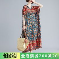 Women's large Summer 2020 Blue flowers on a red background Average size [recommended 120-250 kg] Dress singleton  commute easy moderate Socket Short sleeve Plants and flowers literature V-neck Polyester, cotton Bat sleeve S0409X pocket 31% (inclusive) - 50% (inclusive) longuette