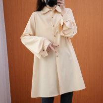Women's large Spring 2021 Picture color L [recommended 100-135 kg], XL [recommended 135-170 kg] Dress singleton  commute easy moderate Cardigan Long sleeves Solid color literature Polo collar polyester Three dimensional cutting shirt sleeve Button 51% (inclusive) - 70% (inclusive) Middle-skirt