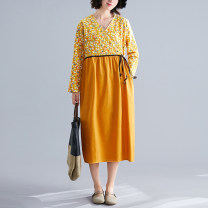 Dress Spring 2021 Green, blue, yellow, red M [suggested 100-115 kg], l [suggested 115-130 kg], XL [suggested 130-145 kg], 2XL [suggested 145-160 kg] Mid length dress singleton  Long sleeves commute V-neck Loose waist Dot Socket routine literature Frenulum S0109W 51% (inclusive) - 70% (inclusive)