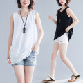 Women's large Summer 2020 White, black, brown One size fits all Vest / sling singleton  commute easy moderate Socket Sleeveless Solid color literature Crew neck routine Polyester, cotton M0628 31% (inclusive) - 50% (inclusive)