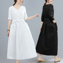 Dress Summer 2021 White, black M [suggested 100-115 kg], l [suggested 115-130 kg], XL [suggested 130-145 kg], 2XL [suggested 145-160 kg] Mid length dress singleton  three quarter sleeve commute V-neck Loose waist Solid color routine Type A literature belt W0306 31% (inclusive) - 50% (inclusive)
