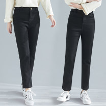 Women's large Spring 2021 black trousers singleton  commute Straight cylinder moderate Solid color literature Polyester, cotton Three dimensional cutting T1220SW Button 31% (inclusive) - 50% (inclusive) trousers
