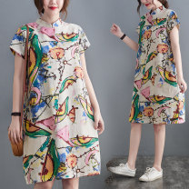 Women's large Summer 2021 Decor M [suggested 100-115 kg], l [suggested 115-130 kg], XL [suggested 130-145 kg], 2XL [suggested 145-160 kg] Dress singleton  commute easy moderate Socket Short sleeve literature stand collar polyester routine S0328W 51% (inclusive) - 70% (inclusive) Medium length