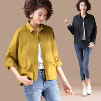 Women's large Spring 2021 Yellow, black L [suggested 110-140 kg], XL [suggested 140-160 kg], 2XL [suggested 160-180 kg], 3XL [suggested 180-200 kg], 4XL [suggested 200-220 kg], 5XL [suggested 220-240 kg] shirt singleton  commute easy moderate Cardigan Long sleeves Solid color literature Polo collar