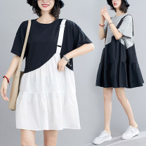Dress Summer 2020 Gray, black Average size [recommended 100-180 kg] Middle-skirt Fake two pieces Short sleeve commute Crew neck Loose waist Solid color routine literature S0703X 51% (inclusive) - 70% (inclusive) polyester fiber