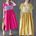 Women's large Summer 2021 Rose red, yellow L [100-150 Jin recommended], XL [150-200 Jin recommended] Dress singleton  commute easy thin Socket Short sleeve other literature V-neck Polyester, cotton raglan sleeve Z0330W pocket 31% (inclusive) - 50% (inclusive) Medium length