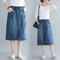 Women's large Spring 2021 blue M [suggested 100-130 kg], l [suggested 130-160 kg] skirt singleton  commute easy moderate Solid color literature Denim Y1227T 31% (inclusive) - 50% (inclusive) Middle-skirt