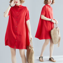 Women's large Summer 2021 gules L [100-150 Jin recommended], XL [150-200 Jin recommended] Dress singleton  commute easy moderate Cardigan Short sleeve Solid color literature Polo collar polyester routine H0511G Button 51% (inclusive) - 70% (inclusive) Middle-skirt