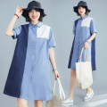 Women's large Summer 2021 blue L [100-150 Jin recommended], XL [150-200 Jin recommended] Dress singleton  commute easy moderate Cardigan Short sleeve Solid color literature Polo collar Polyester, cotton routine S0309 31% (inclusive) - 50% (inclusive) Middle-skirt