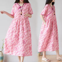Women's large Summer 2021 Decor M [suggested 100-115 kg], l [suggested 115-130 kg], XL [suggested 130-145 kg], 2XL [suggested 145-160 kg] Dress singleton  commute easy moderate Socket Short sleeve Decor literature V-neck polyester Three dimensional cutting routine W0305 pocket Medium length