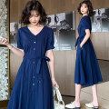 Dress Summer 2021 Navy beige blue yellow S M L XL Mid length dress singleton  Short sleeve commute V-neck Elastic waist Solid color A-line skirt routine Others 25-29 years old Raman Hui / manhui Korean version Frenulum M0HC6101 More than 95% other Other 100%