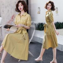 Dress Summer 2020 Yellow Khaki S M L XL Mid length dress singleton  Short sleeve commute Polo collar High waist Solid color Single breasted A-line skirt routine Others 25-29 years old Raman Hui / manhui Korean version Frenulum M0HC30250 More than 95% other Other 100%
