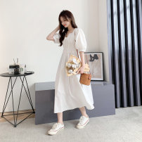 Dress Spring 2021 White, black, apricot M L Mid length dress singleton  Long sleeves commute square neck High waist Solid color A-line skirt Others 18-24 years old Type A Impression of Matcha Korean version MC9508 More than 95% cotton Cotton 100% Pure e-commerce (online only)