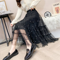 skirt Spring 2021 Average size Black Beige Mid length dress commute High waist A-line skirt Type A 18-24 years old MC9266 More than 95% Impression of Matcha other Beaded yarn net Korean version Other 100% Exclusive payment of tmall