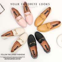 Low top shoes 33 34 35 36 37 38 39 40 Other / other Lotus root pink brown yellow black off white Round head Flat heel top layer leather Deep mouth Low heel (1-3cm) Two layer pigskin Summer of 2018 Trochanter Korean version Adhesive shoes Youth (18-40 years old) Solid color TPR (tendon) Lefu shoes