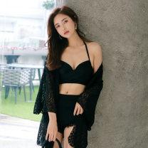 Split swimsuit black M,L,XL,XXL Triangle swimsuit Steel strap breast pad Nylon, polyester, others female