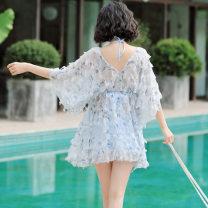 Split swimsuit Blue, pink M,L,XL,XXL,XXXL Triangle swimsuit Steel strap breast pad Spandex, polyester, others female