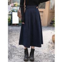 skirt Winter 2020 S, M navy blue longuette commute High waist A-line skirt Solid color Type A 25-29 years old Denim waist button skirt Denim