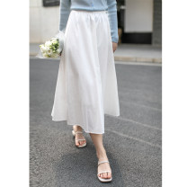 skirt Summer 2021 Average size white longuette commute High waist A-line skirt Solid color Type A 25-29 years old Water cotton skirt other