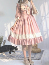 Dress Summer 2020 Cherry grey powder, khaki rose, Eucalyptus green, Hydrangea purple, bluebell S. M, l, XL, size one, size two Middle-skirt singleton  Short sleeve Sweet Admiral middle-waisted Solid color zipper Big swing puff sleeve Others 18-24 years old Type A 71% (inclusive) - 80% (inclusive)