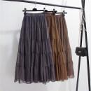 skirt Autumn of 2019 Average size Blue, yellow, green longuette commute High waist A-line skirt Broken flowers Type A Korean version