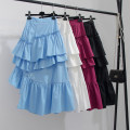 skirt Summer 2021 S,M Blue, white, wine red, black Mid length dress commute High waist Irregular Solid color Type A Lotus leaf edge Korean version