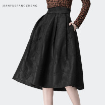 skirt Winter 2020 S M L XL XXL XXXL XXXXL black Mid length dress commute High waist A-line skirt Solid color More than 95% Reduced equation polyester fiber Korean version Polyester 100% Pure e-commerce (online only)