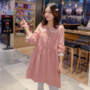 Dress Other / other Pink, green, pink + light grey pants (suit), green + light grey pants (suit), single light grey belly pants M,L,XL,XXL Korean version Long sleeves Medium length autumn Lapel Solid color hemp