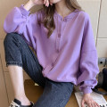 shirt Purple green off white M L XL XXL 3XL 4XL Autumn 2020 other 96% and above Long sleeves commute Regular Crew neck routine Solid color 18-24 years old Straight cylinder Shammai Korean version Other 100% Pure e-commerce (online only)