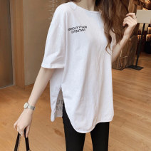 Lace / Chiffon Summer 2020 White black S M L XL XXL Short sleeve commute Socket singleton  easy Medium length Crew neck Solid color routine 18-24 years old Shammai Haoliang 991 Korean version 96% and above Other 100% Pure e-commerce (online only) cotton