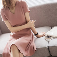 Dress Summer 2021 Pink, black S,M,L,XL Middle-skirt singleton  Short sleeve commute V-neck High waist Solid color Socket A-line skirt routine Others Type A Sandro asw Retro 91% (inclusive) - 95% (inclusive)