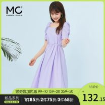 Dress Summer 2020 Average size Mid length dress singleton  Short sleeve commute square neck High waist Solid color Socket A-line skirt puff sleeve Others 18-24 years old Type X MC2 energy alliance Retro More than 95% cotton Cotton 100% Same model in shopping mall (sold online and offline)