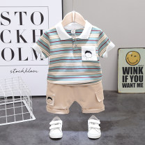suit Other / other Light green, khaki, lotus root, black, light orange, light green, bright red, bright white, sunflower yellow, light sky blue, light treasure blue, skin pink 80, 90, 100, 110, 120 male summer leisure time Short sleeve + pants 2 pieces Thin money No model Socket nothing cotton