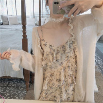 Dress Summer 2020 Single skirt, floral suspender skirt + apricot cardigan S,M,L,XL Mid length dress Two piece set Sleeveless commute Crew neck High waist Decor Socket A-line skirt routine camisole 18-24 years old Other / other Korean version 71% (inclusive) - 80% (inclusive) other polyester fiber