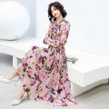Dress Spring 2021 Pink Black S M L XL XXL Mid length dress singleton  Long sleeves commute middle-waisted Decor Socket Big swing other Others 25-29 years old Ou Beiling Korean version printing OBL21030495 More than 95% Chiffon polyester fiber Polyester 100%