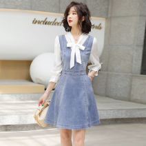Dress Spring 2021 Picture color S M L XL XXL Mid length dress singleton  Long sleeves commute V-neck High waist Solid color Socket A-line skirt routine Others 25-29 years old Type A Ou Beiling Korean version Splicing OBL213154 More than 95% Denim polyester fiber Polyester 100%