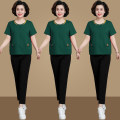 Middle aged and old women's wear Summer 2021 Bean paste reserve 1 reserve 2 reserve 3 black green red L (about 80-110kg) XL (about 110-120kg) XXL (about 120-130kg) 3XL (about 130-140kg) 4XL (about 140-150kg) 5XL (about 150-170kg) leisure time suit easy Two piece set Solid color 40-49 years old Socket