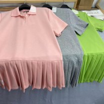 T-shirt Summer 2021 Short sleeve square neck Self cultivation have cash less than that is registered in the accounts routine street cotton 96% and above 18-24 years old other Vertical stripe fry.city fold Europe and America Grey dress, pink dress, green dress S,M,L