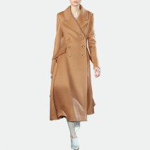 woolen coat Winter 2017 S M L XL khaki polyester 51% (inclusive) - 70% (inclusive) have more cash than can be accounted for Long sleeves street double-breasted routine tailored collar Solid color Self cultivation AUI 30-34 years old Pocket panel button Solid color Imitation fabric Europe and America