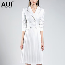 Dress Summer of 2019 white S M L XL Mid length dress singleton  Long sleeves street tailored collar middle-waisted Solid color Socket Pleated skirt routine Others 30-34 years old Type A AUI Pleated button zipper More than 95% other polyester fiber Polyester 100% Pure e-commerce (online only)