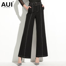 Casual pants Black [gift belt] S M L XL Spring of 2019 trousers Wide leg pants High waist street routine 19C073842 AUI pocket Polyester 92.9% polyurethane elastic fiber (spandex) 7.1% Europe and America