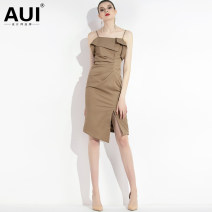 Dress Summer of 2019 White Khaki [S / M pre-sale 20 days] black [a small amount of stock] pink gray S M L XL Mid length dress singleton  Sleeveless street One word collar High waist Solid color zipper One pace skirt routine camisole 30-34 years old Type H AUI Pleating and backless asymmetry 19X014155