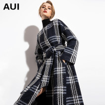 woolen coat Winter of 2018 S M L XL black polyester 71% (inclusive) - 80% (inclusive) have more cash than can be accounted for Long sleeves street Buckle routine Crew neck lattice Straight cylinder 18D093568 AUI 30-34 years old Pocket lace up button Solid color polyester fiber Europe and America