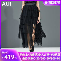skirt Autumn of 2018 S M L XL White black Mid length dress street High waist High waist skirt Solid color Type A 30-34 years old 18Q143339 More than 95% AUI polyester fiber Pleated mesh splicing Polyester 100% Pure e-commerce (online only) Europe and America