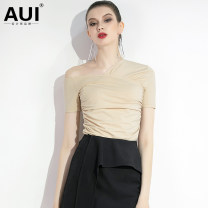 T-shirt Apricot [small amount in stock] S M L XL Summer of 2019 Short sleeve Slant collar Self cultivation Regular routine street cotton 31% (inclusive) - 50% (inclusive) 30-39 years old classic Solid color AUI 19X134100 Asymmetric fold Pure e-commerce (online only) Europe and America