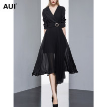 Dress Autumn 2020 black S M L XL Mid length dress singleton  Long sleeves street other middle-waisted Solid color other Big swing routine Others 30-34 years old Type A AUI Pleated lace up zipper with diamond 20Q016450 More than 95% polyester fiber Pure e-commerce (online only) Europe and America