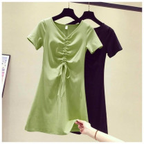 Dress Summer 2020 247 light green, 247 black, 247 pink, 9506 stripes S,M,L,XL,2XL Mid length dress Short sleeve Sweet Solid color A-line skirt 18-24 years old 30% and below other cotton